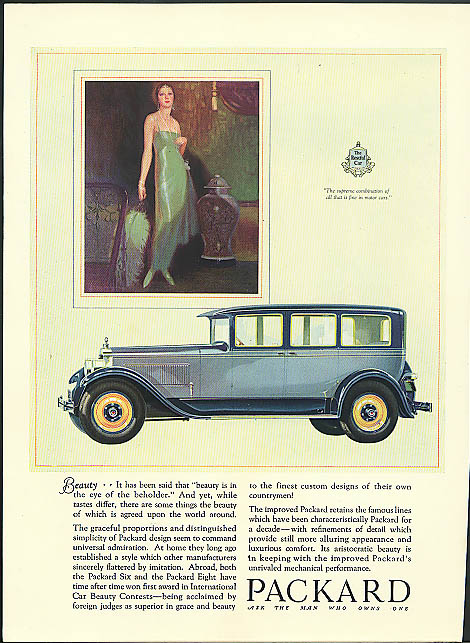 Image for Beauty - It has been said is in eye of the beholder Packard 4-door Sedan ad 1927