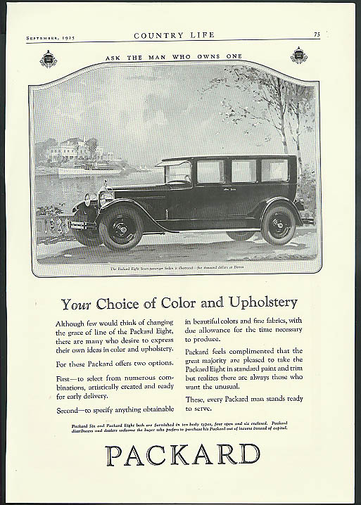Image for Your Choice of Color & Upholstery Packard Eight 7-Passenger Sedan ad 1925
