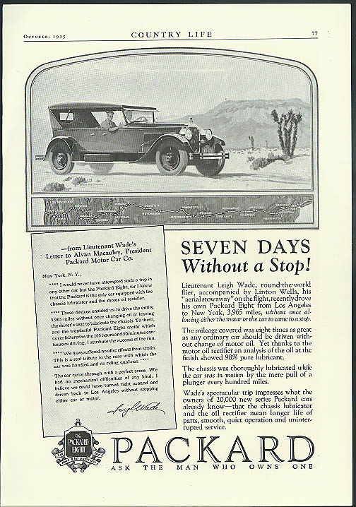 Seven Days without a Stop! Packard coast-to-coast trip ad 1925