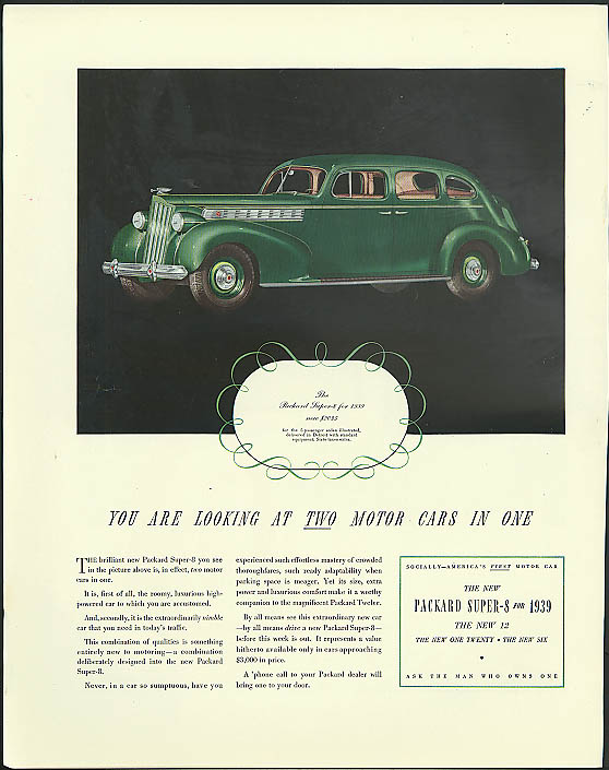 Image for You are looking at two motor cars in one Packard Super-8 Sedan ad 1939 Fortune
