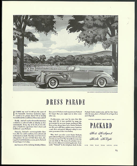 Image for Dress Parade: Packard 12 Convertible Victoria for Five ad 1938