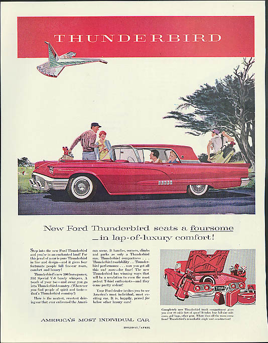 Image for New Ford Thunderbird seats a foursome in lap-of-luxury comfort ad 1958