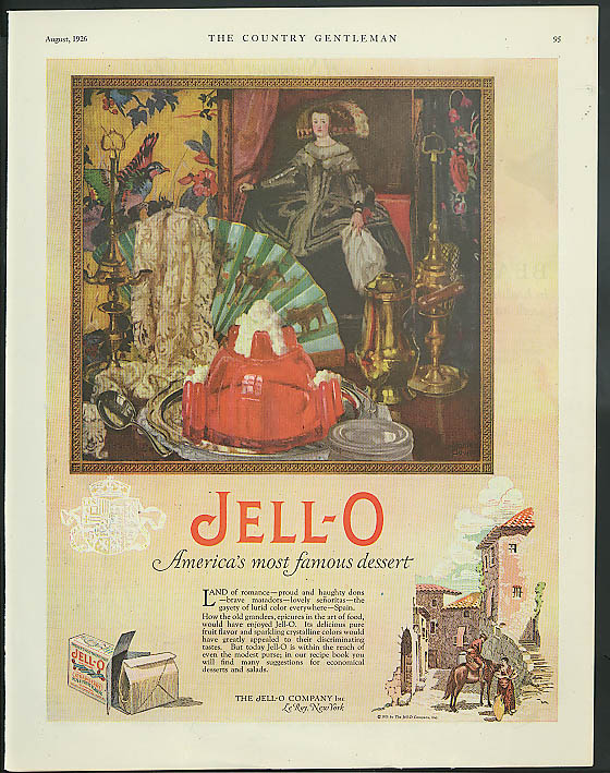 Image for Jell-O - America's most famous dessert ad 1926 Spain theme
