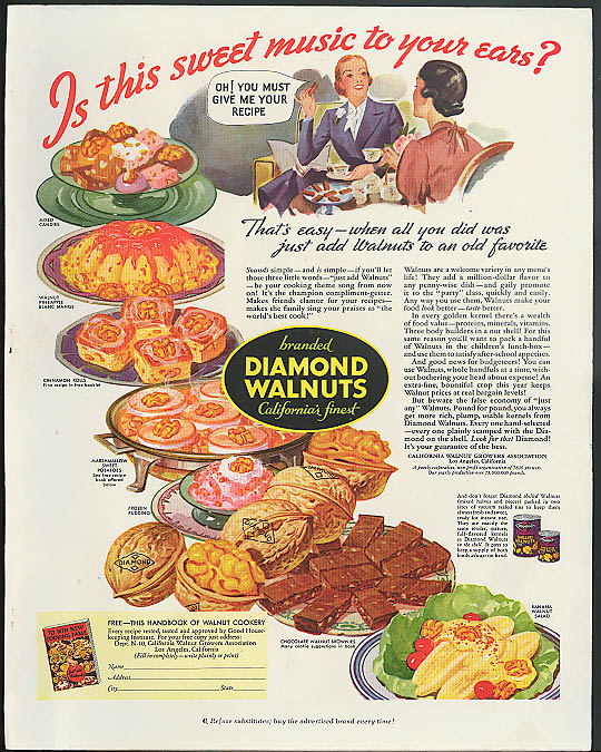 Image for Is this sweet music to your ears? Diamond Walnuts ad 1936