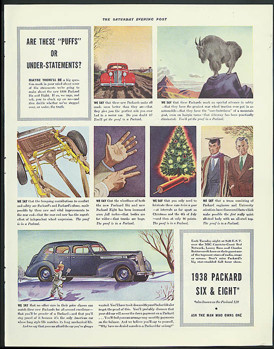 "Are these ""puffs"" or under-statements? Packard Town Sedan ad 1938"