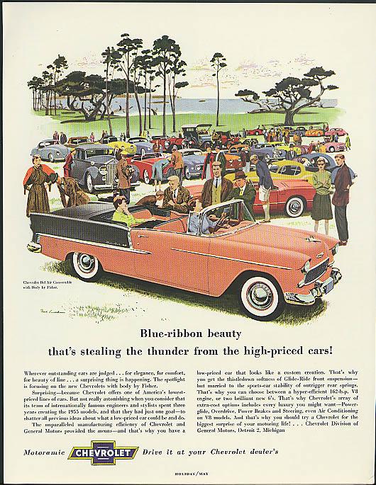Blue-ribbon beauty stealing thunder Chevrolet Bel Air Convertible ad 1955