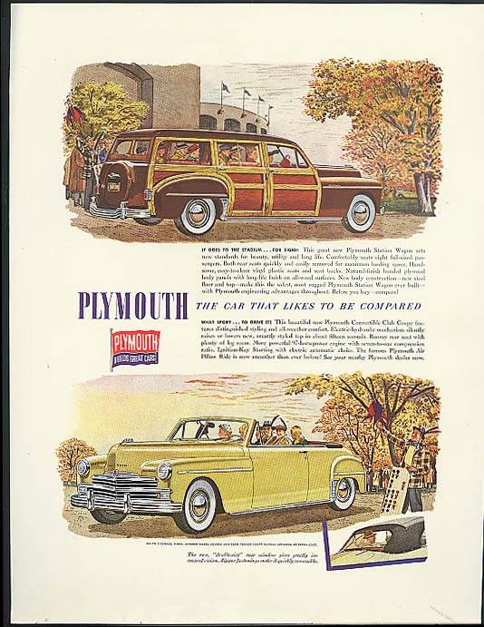 Image for To the Stadium Plymouth Station Wagon & Convertible ad 1949