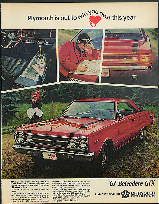 Image for Plymouth is out to win you over this year Belvedere GTX Hemi ad 1967