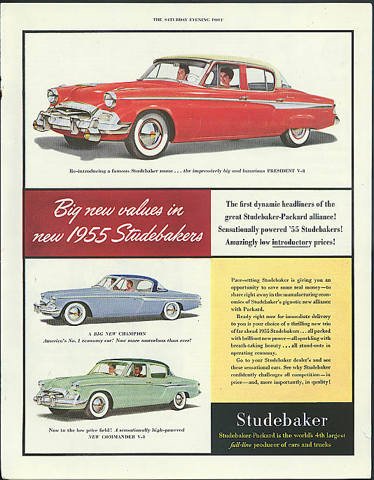 Big new values in new 1955 Studebakers President Champion Commander ad