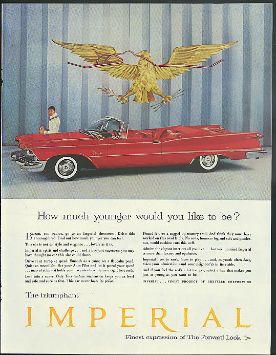 Image for How much younger would you like to be? Imperial Convertible by Chrysler ad 1958