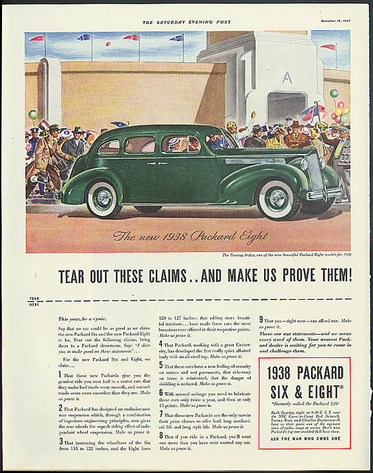 Image for Tear out these claims & make us prove them! Packard Eight ad 1938