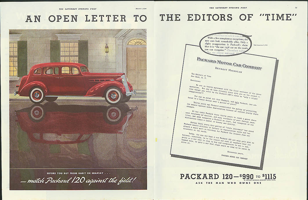 An Open Letter to the Editors of TIME Packard 120 ad 1936