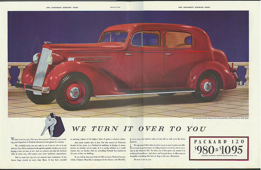 Image for We turn it over to you Packard 120 Club Sedan ad  1935
