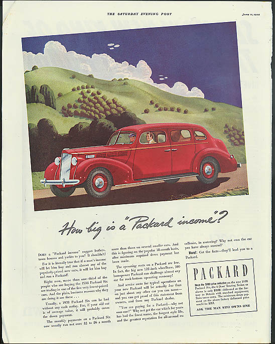 "Image for How big is a ""Packard income""? Packard Six Sedan ad 1938"