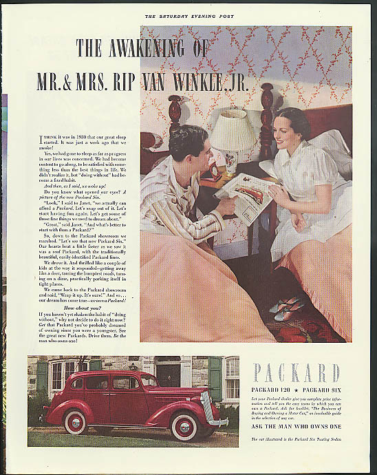 The amakening of Mr & Mrs Rip Van Winkle Packard Six Sedan ad 1937