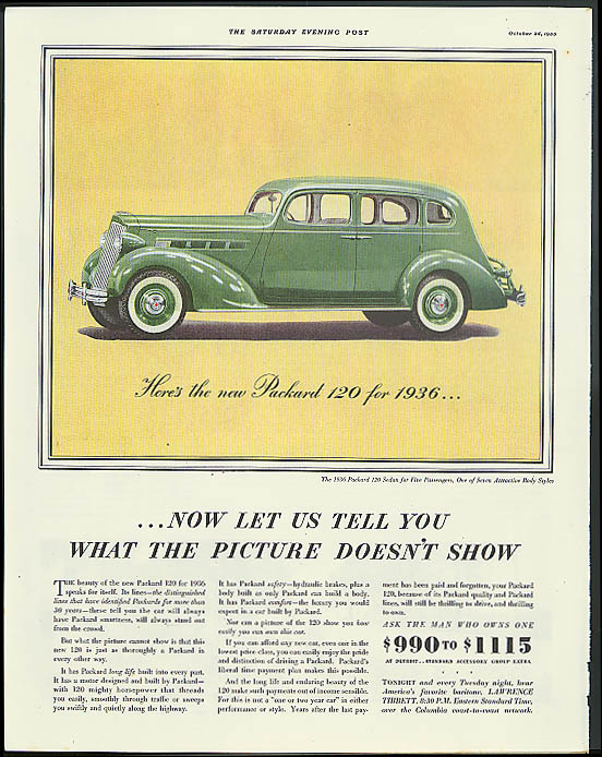 Image for Now let us tell you what the picture doesn't show Packard 120 ad 1936