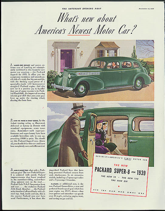 Image for What's new about America's Newest Motor Car? Packard Super-8 ad 1939 Post