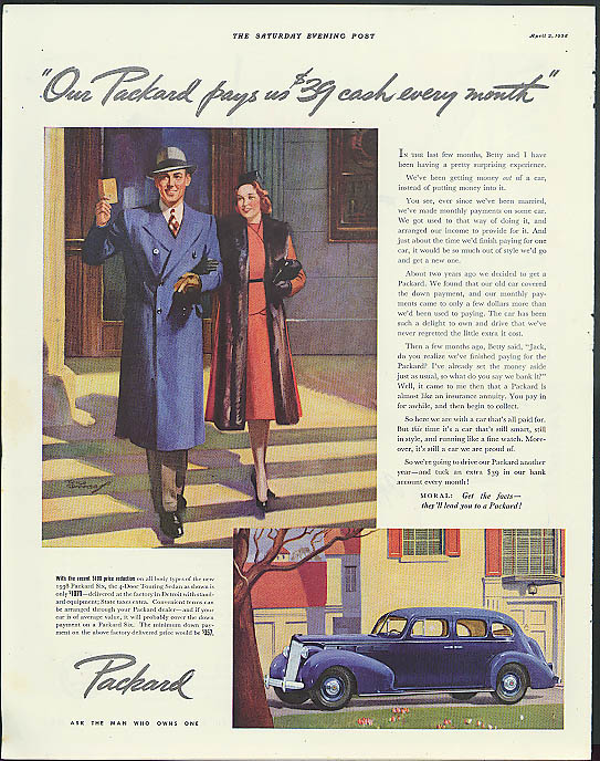Image for Our Packard pays us $39 cash every month Six 4-Door Touring Sedan ad 1938