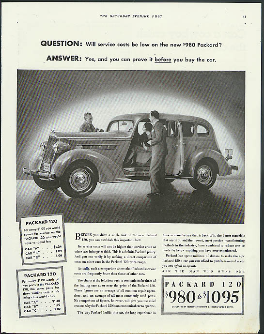 Image for Question: Will service costs be low on the new $980 Packard 120 ad 1935