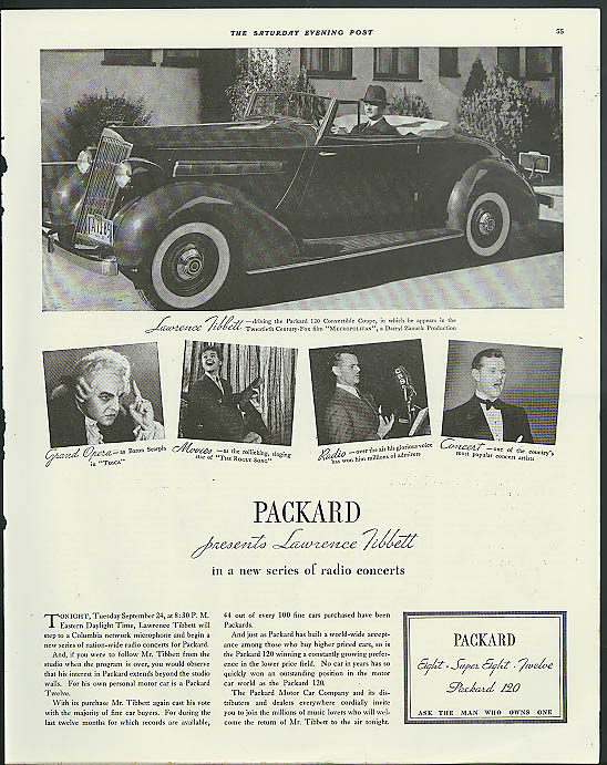 Image for Lawrence Tibbett for Packard 120 Convertible Coupe ad 1935