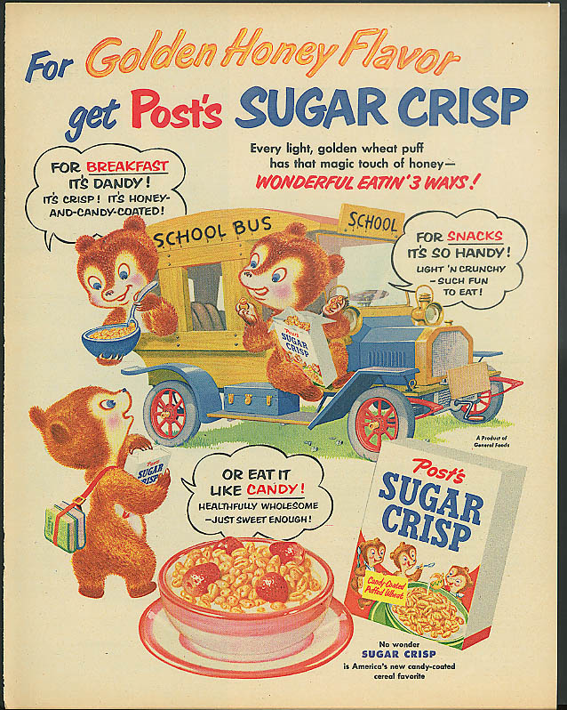 Golden Honey Post's Sugar Crisp Dandy Handy Candy Bears ad 1954 school bus