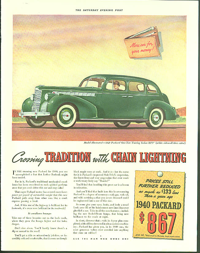 Image for Crossing tradition with chain lightning Packard One-Ten Touring Sedan ad 1940