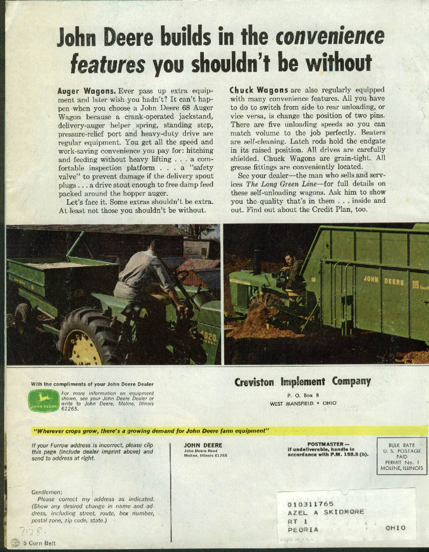 John Deere THE FURROW 10 1965 SPF hogs? Cow hoof trimmer Phillips Random Lake WI
