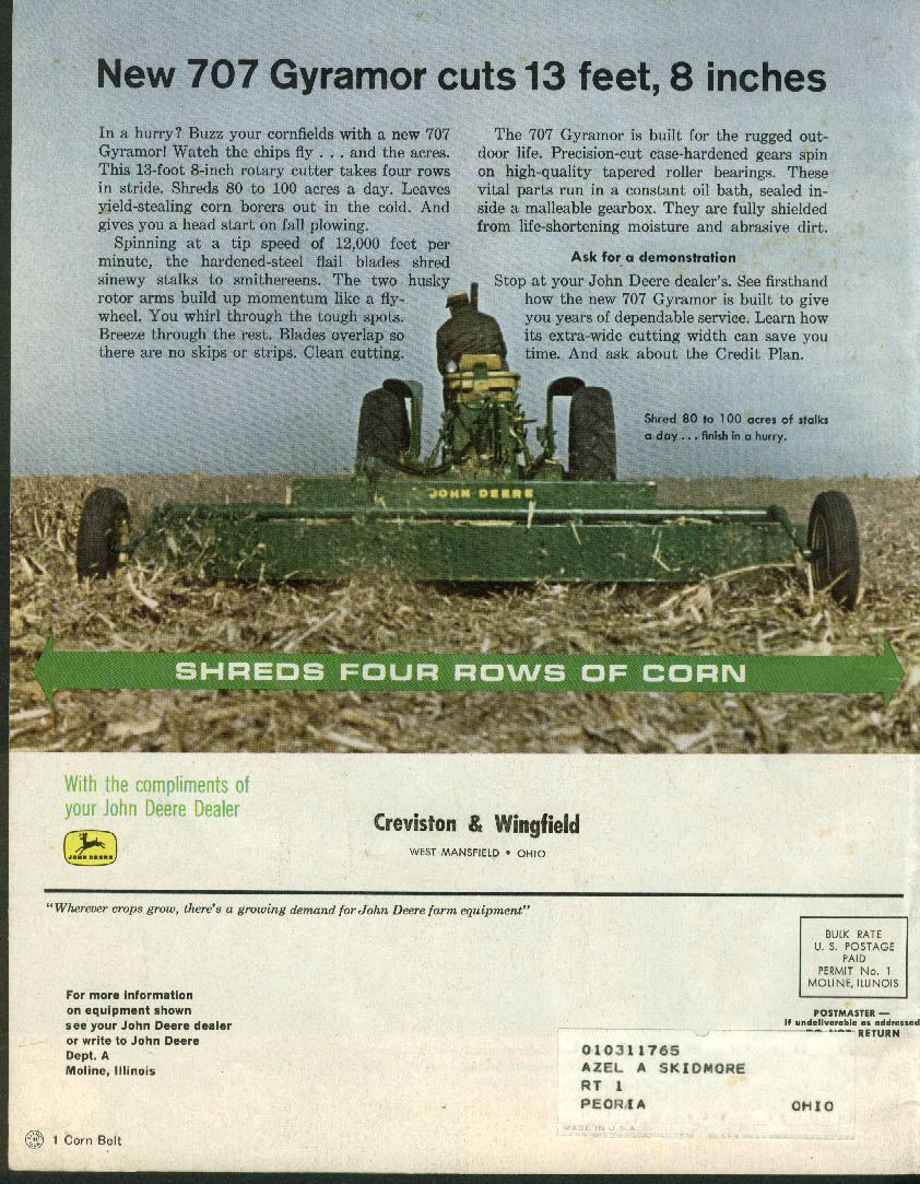 John Deere THE FURROW 1-2 1964 Witchweed; shift from butterfat milk Gary Bradds