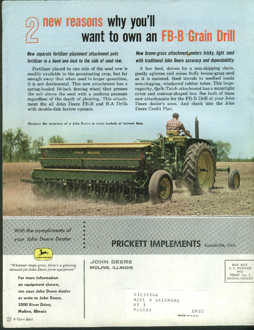 John Deere THE FURROW 12 1961 Indiana Home Demo Chorus; Witwer's Marion IA farm