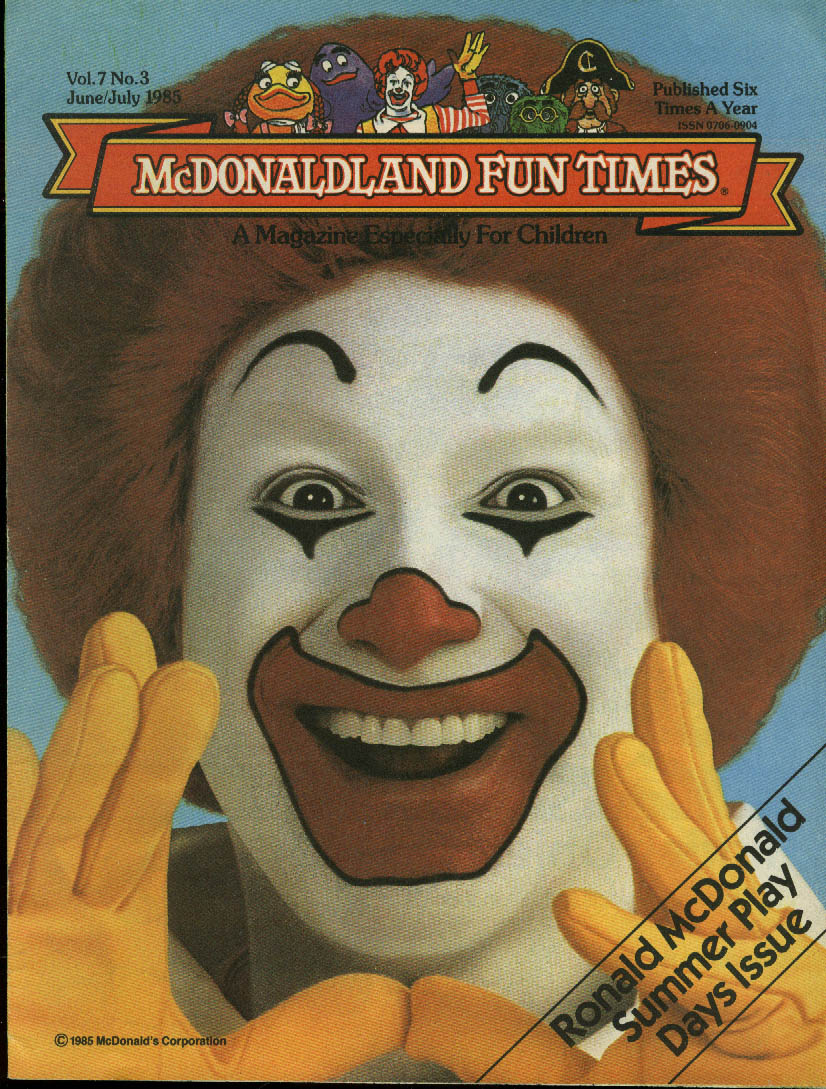 McDonaldland Fun Times Ronald McDonald Summer Play Issue 6-7 1985 McDonald's
