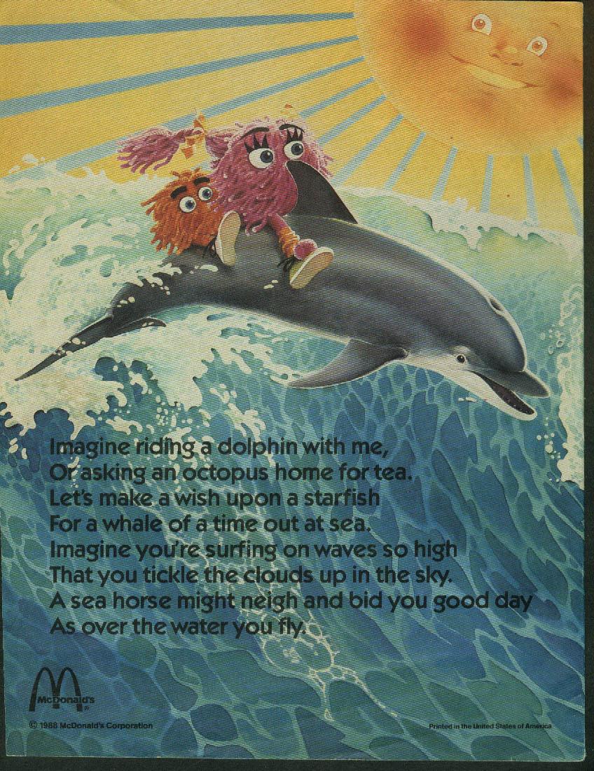 McDonaldland Fun Times Ronald McDonald Summer Surf & Sun 6-7 1988 McDonald's