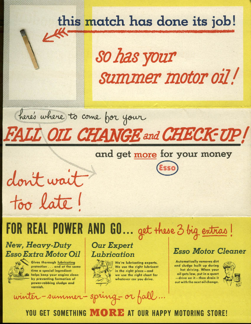 Esso Fall Oil Change & Check-Up direct mail piece 1950s