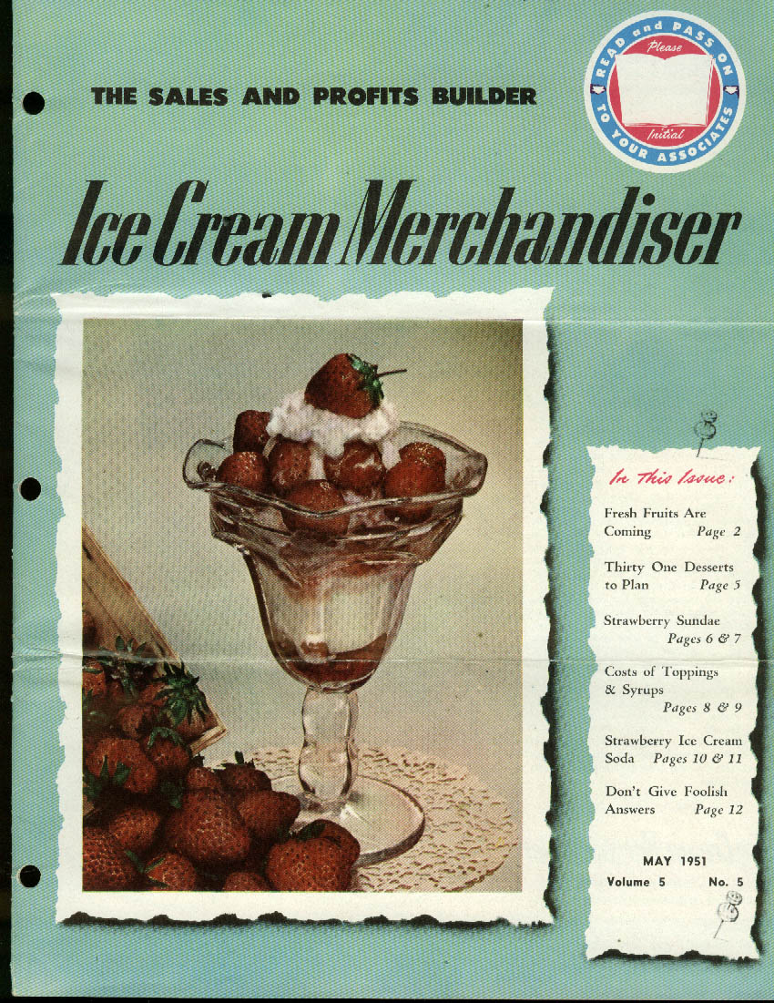 ICE CREAM MERCHANDISER 5 1951 Strawberry Sundae; toppings & syrups etc.