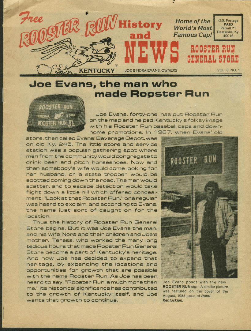 Joe Evans Rooster Run History & News 1986 catalog KY