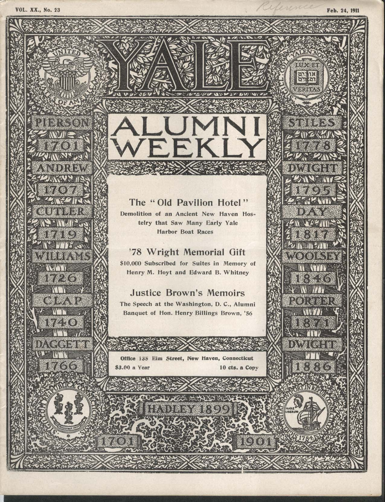 YALE ALUMNI WEEKLY Henry M Hoyt Edward B Whitney Justice Brown Memoirs 2/24 1911