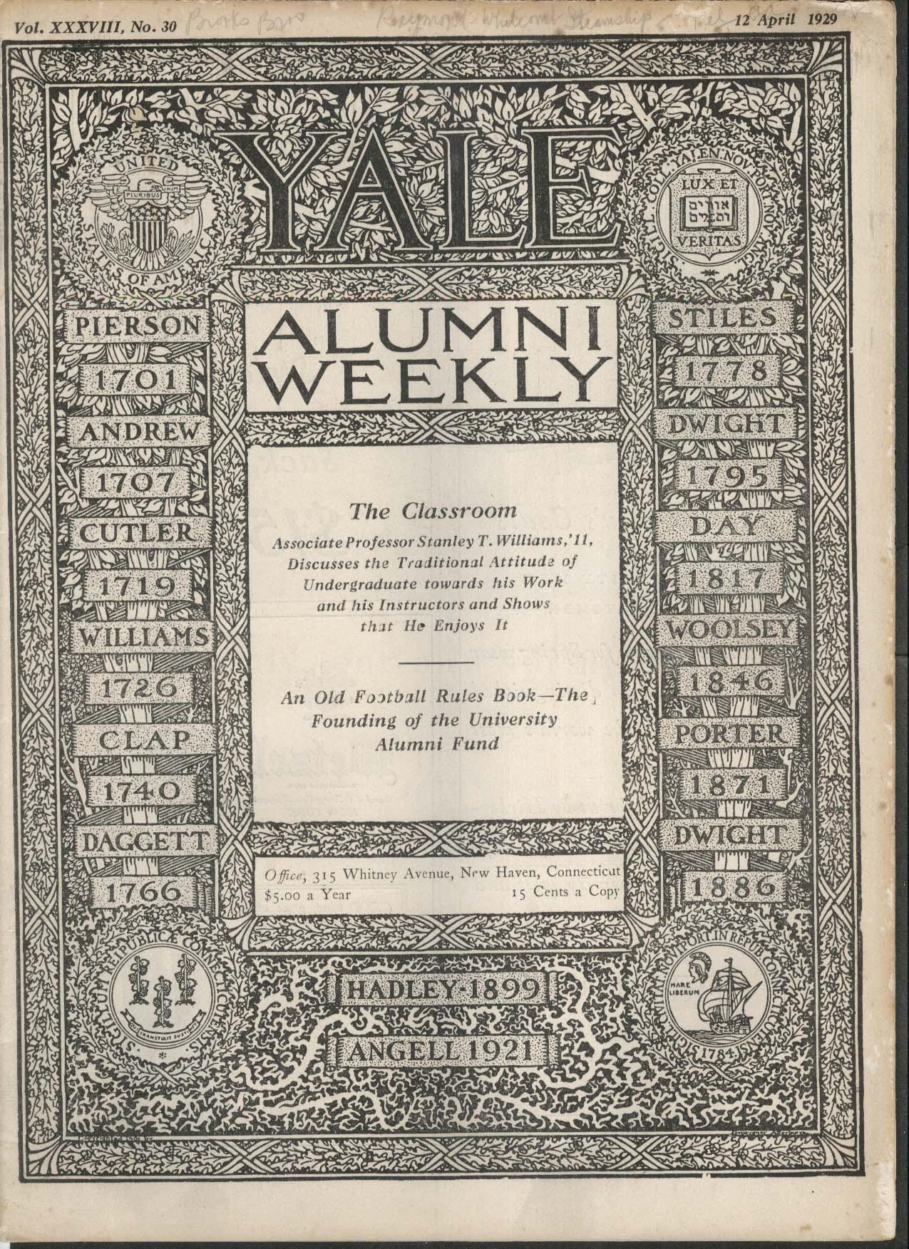 YALE ALUMNI WEEKLY Stanley Williams Alumni Fund Athletics 4/12 1929