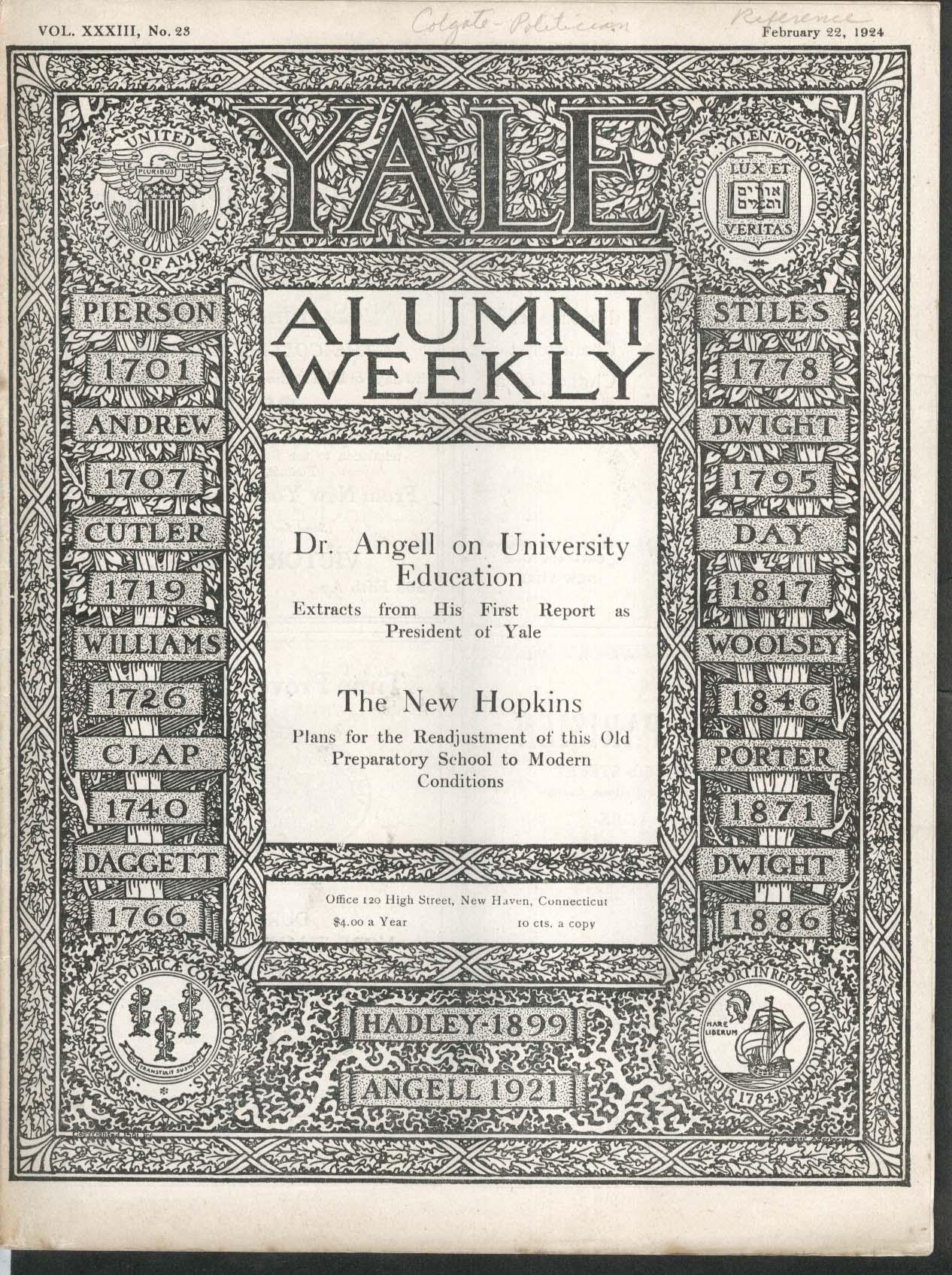 YALE ALUMNI WEEKLY Angell University Education New Hopkins 2/22 1924