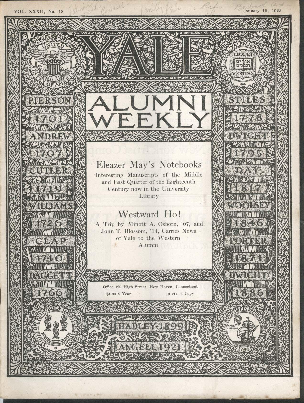 YALE ALUMNI WEEKLY Eleazer May Minott Osborn John Blossom Westward Ho! 1/19 1923