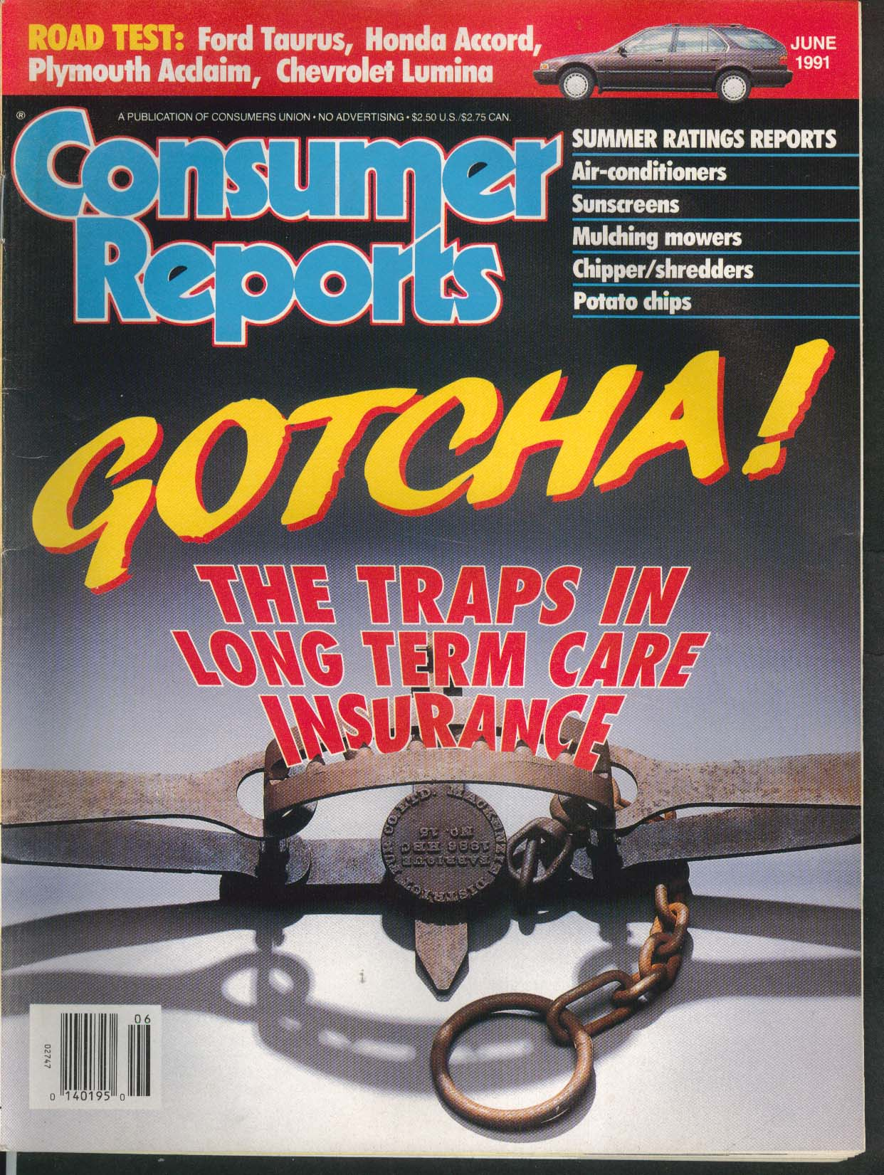 CONSUMER REPORTS Ford Taurus Honda Accord Plymouth Acclaim Chevy Lumina 6 1991