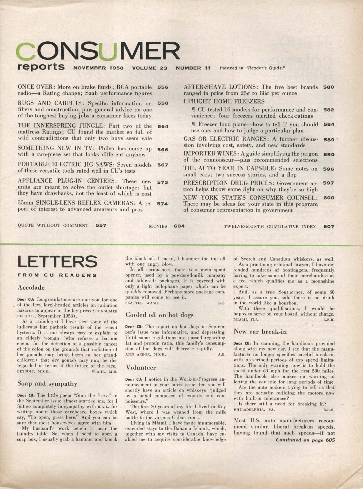 CONSUMER REPORTS Auto Year in Capsule: Rambler American 11 1958