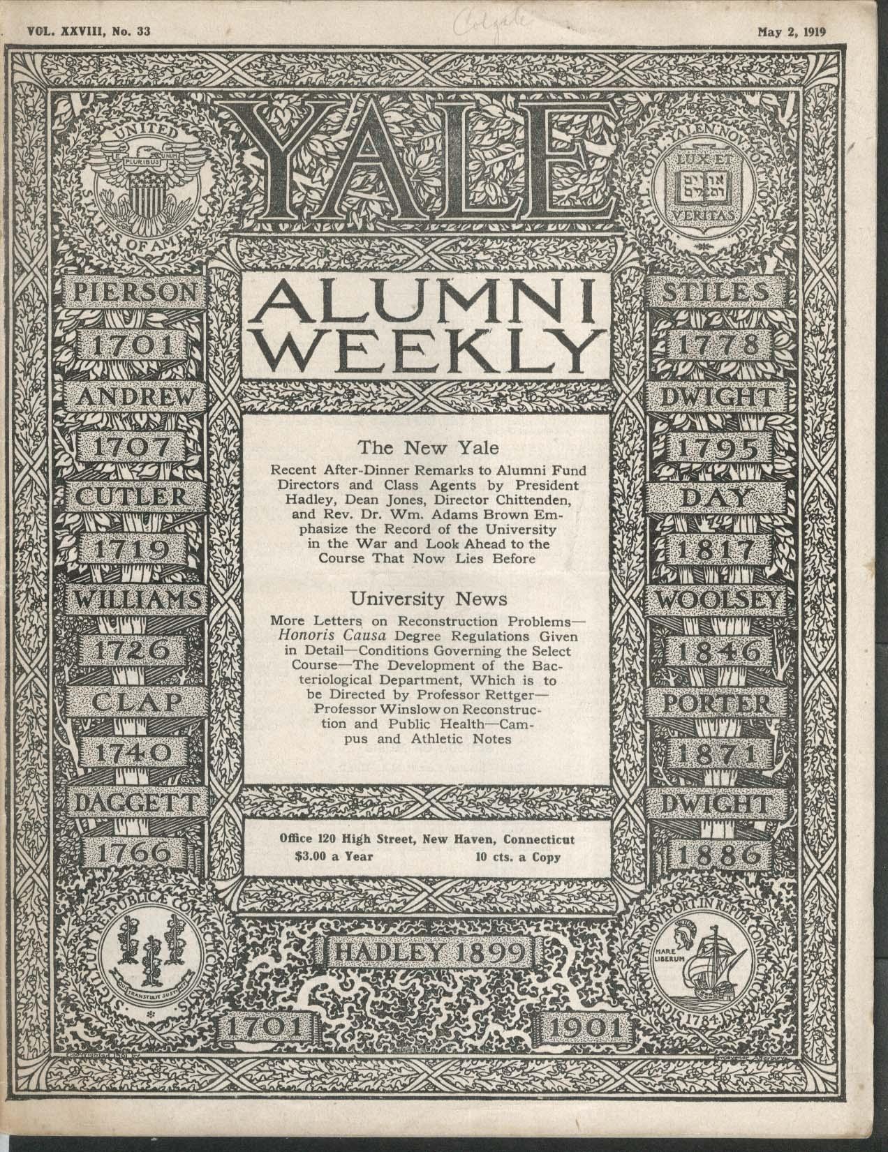 YALE ALUMNI WEEKLY War Record Thomas Miller Alumni Fund Dinner 5/2 1919
