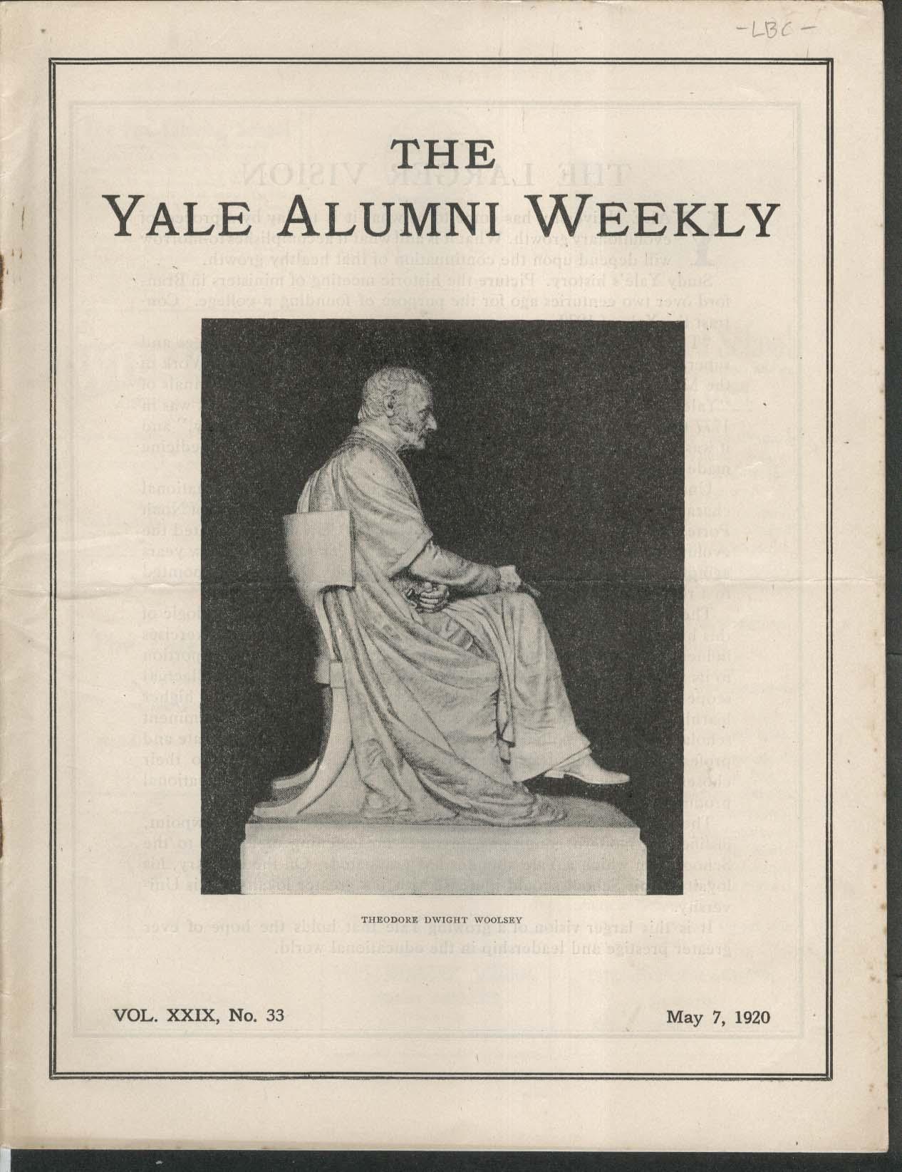 YALE ALUMNI WEEKLY Theodore Dwight Woolsey William Kendall 5/7 1920