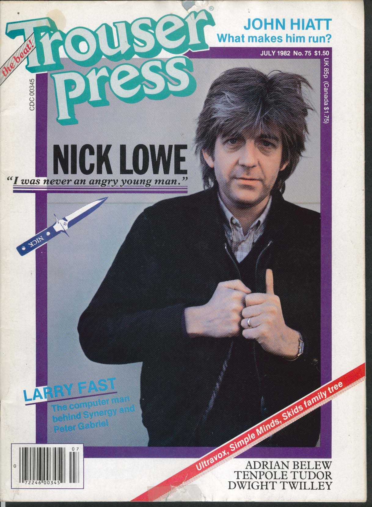 TROUSER PRESS #75 Nick Lowe Larry Fast John Hiatt Ultravox Simple Minds + 7 1982