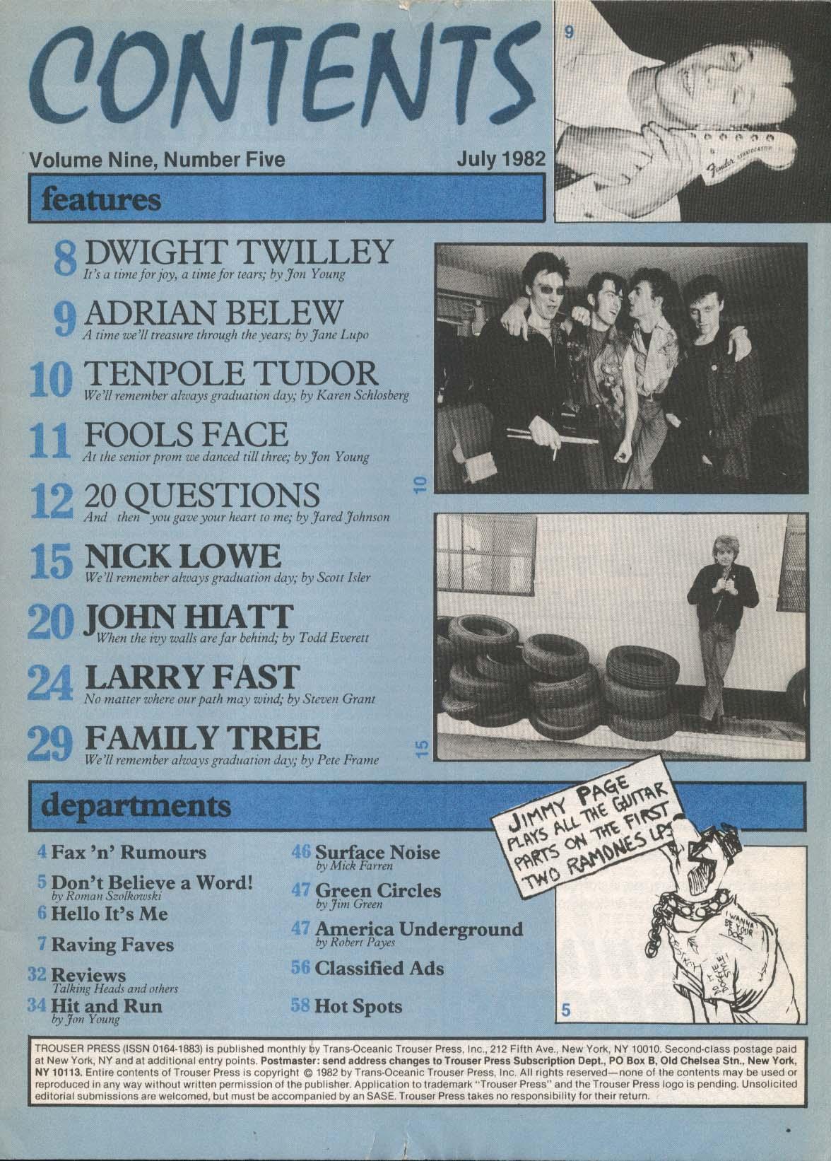 TROUSER PRESS #75 Nick Lowe Larry Fast John Hiatt Ultravox Simple Minds + 7 1982
