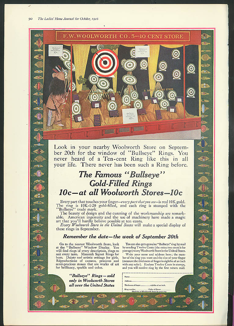 Woolworth's display window Bullseye Gold-Filled Rings 10c magazine ad 1916