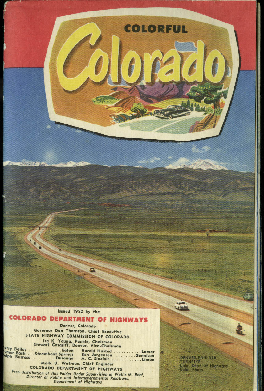 Colorful Colorado Road Map & Tourist brochure 1952