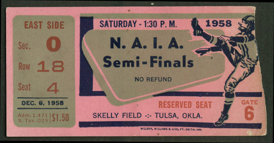 NAIA Football Championship Semi-Finals ticket stub Skelly Field Tulsa OK 1958