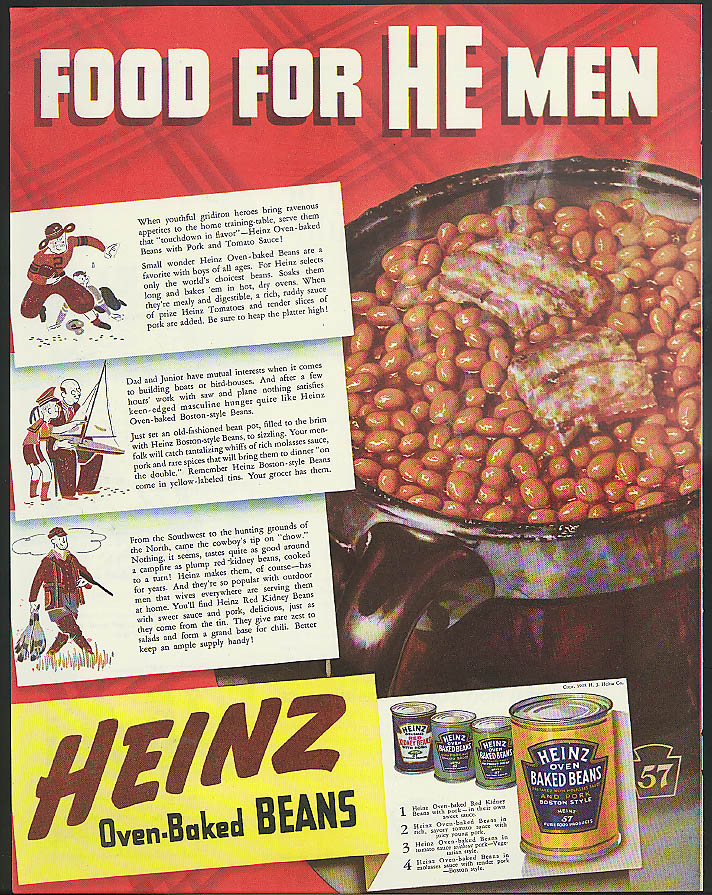 Image for Food for He Men Heinz Baked Beans ad 1938 hunting football sailing