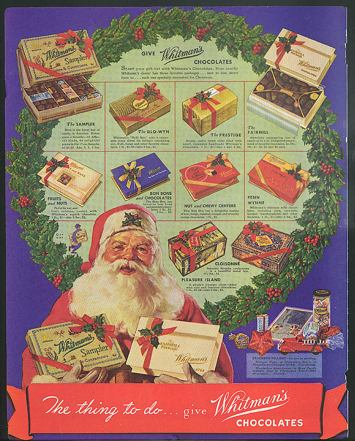 Image for The thing to do give Whitman's Chocolates for Christmas Santa Claus ad 1936