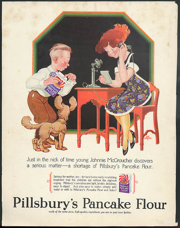 Image for Johnnie McGroucher discovers Pillsbury's Pancake Flour ad 1928 G W French art